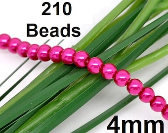 ON SALE - 4mm Pink Glass Pearl Imitation Round Beads - 32 inch strand