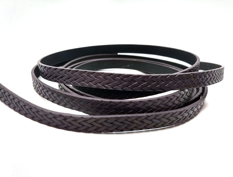 1M BRAIDED - Dark Red Brown FLAT Faux Leather Jewelry Cord 10mm Wide 3.28 FT