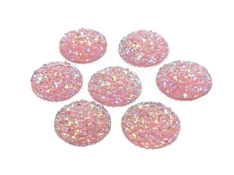 Dome Style 10 pcs Druzy Resin Embellishment Cabochons Pink Multicolor 18mm