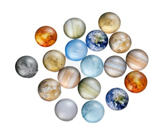 10 pcs Circle Planets Solar System Universe Glass Round Dome Seals Tiles Cabochons - 12mm (0.47 in)