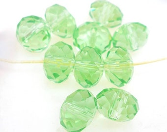SALE - 70 pcs. Aventurine Green Crystal Quartz Faceted Rondelle Beads - 8mm