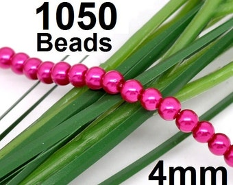 5 strands - 4mm Pink Glass Pearl Imitation Round Beads - 32 inch strand