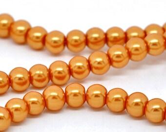 6mm Orange Glass Pearl Imitation Round Beads - 32 inch strand