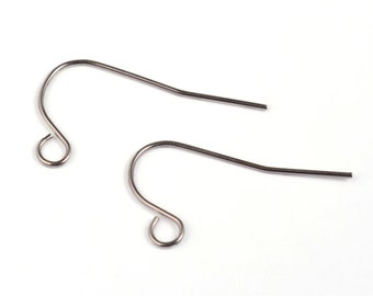 100 pcs 304 Stainless Steel Silver Tone Earring Hooks - 22mm x 12mm - Hole Size: 2.5mm - Parallel Loop