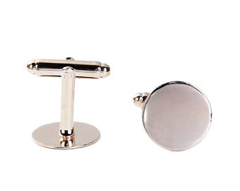 Lot of 2 Rose Gold Plated Cuff Links (1 pairs) - 15mm Glue Pad