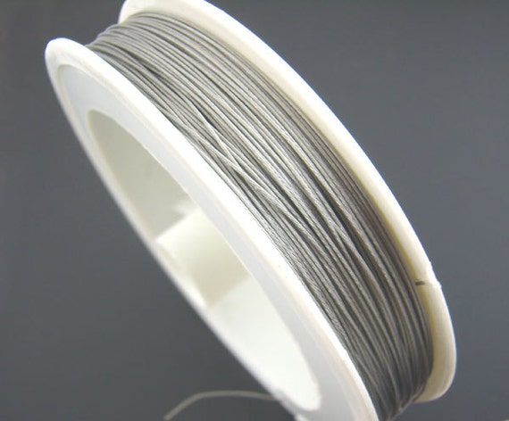 1 x Silver Nylon-Coated Steel 0.45mm x 50m Round Tiger Tail Spool HA06750