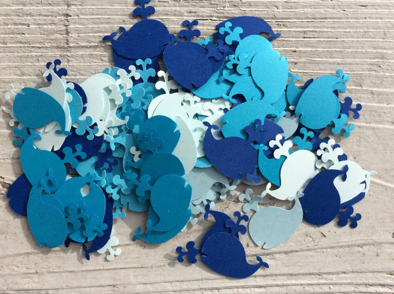 100 Mixed blue Whale Confetti Baby Shower decoration image 0