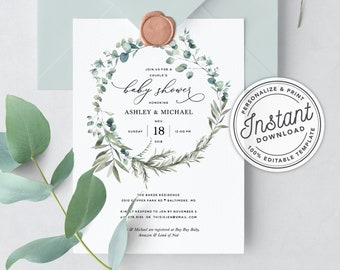 Baby shower invitation etsy bohemian couples baby shower invitation with eucalyptus greenery instant download printable editable template filmwisefo