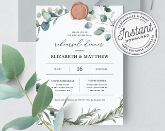 Rehearsal dinner invitation template etsy bohemian wedding rehearsal dinner invitation template with eucalyptus greenery wreath instant download printable editable template 023 maxwellsz