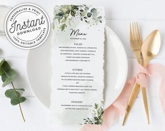 watercolor boho greenery menu w eucalyptus bridal shower wedding dinner brunch instant download printable editable template 027