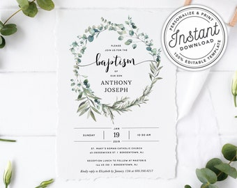 Greenery Baptism Invitation With Bohemian Eucalyptus Wreath O INSTANT DOWNLOAD Printable Editable Template