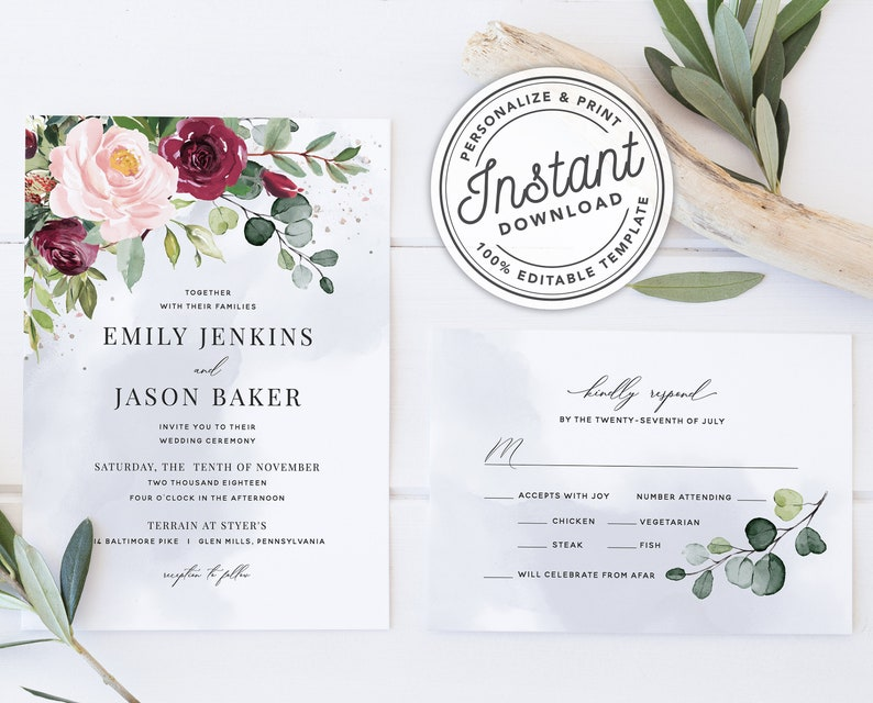 3457698a731c5 Watercolor Boho Burgundy Blush Wedding Invitation Template Suite with  Eucalyptus Greenery • INSTANT DOWNLOAD • Printable, Editable Template