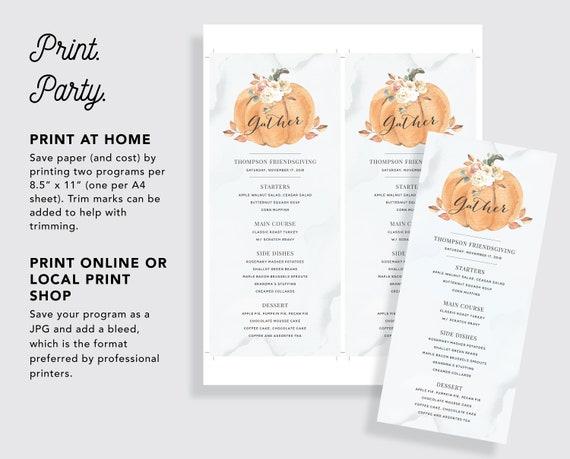 Printable Friendsgiving Thanksgiving Dinner Menu With Watercolor Autumn Pumpkin Instant Download Printable Editable Template 076