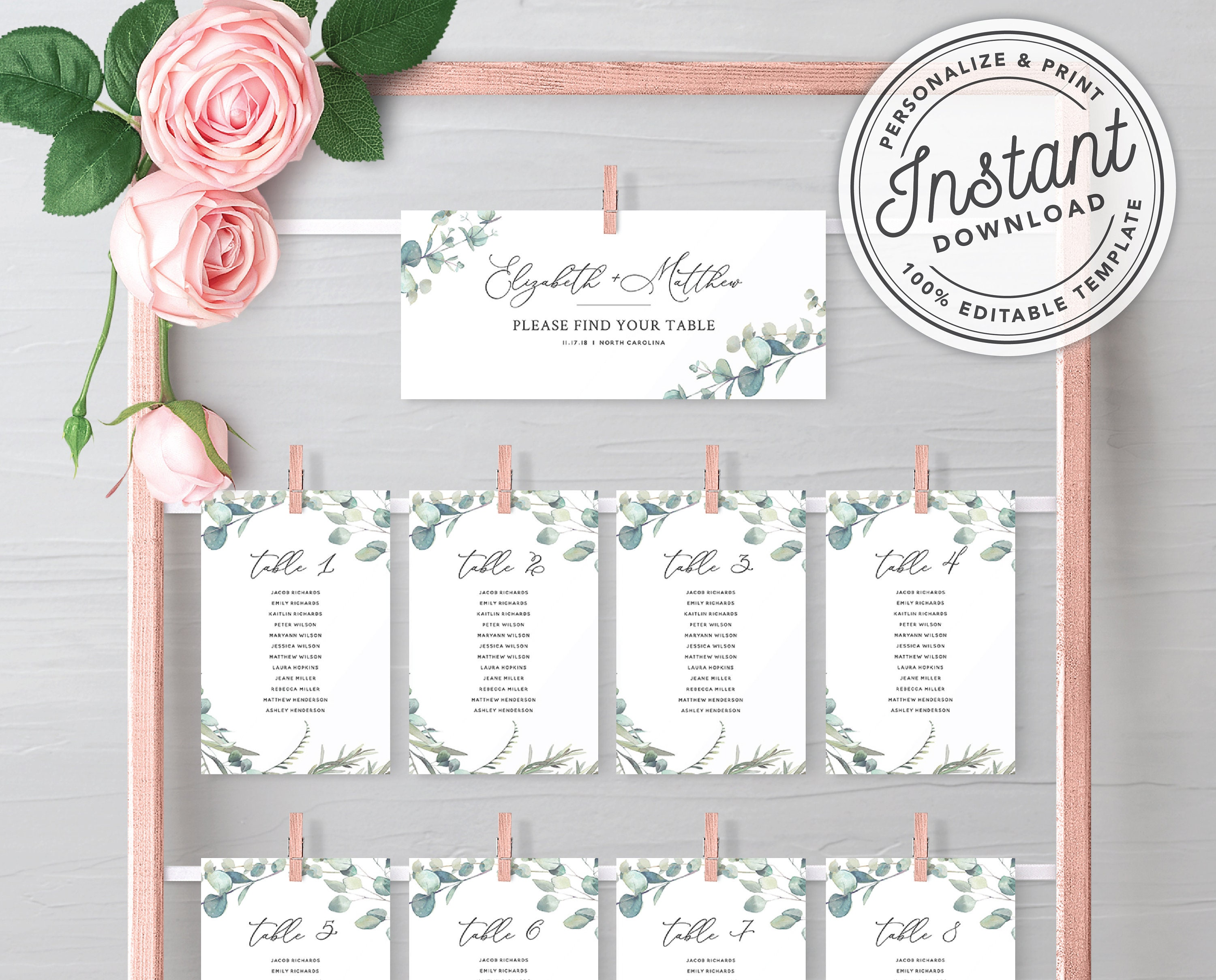 50: Eucalytus Garland Wedding Place Card Templates At Websimilar.org