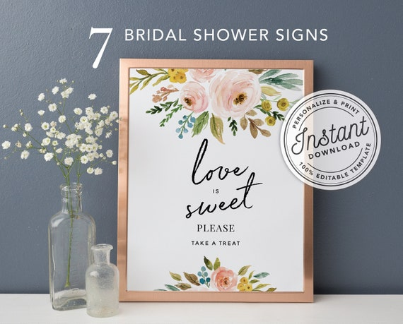 photo regarding Printable Bridal Shower Signs identified as Printable Bridal Shower Indication Package 8x10 incorporates 7 Indicators Immediate Down load Editable Template #013