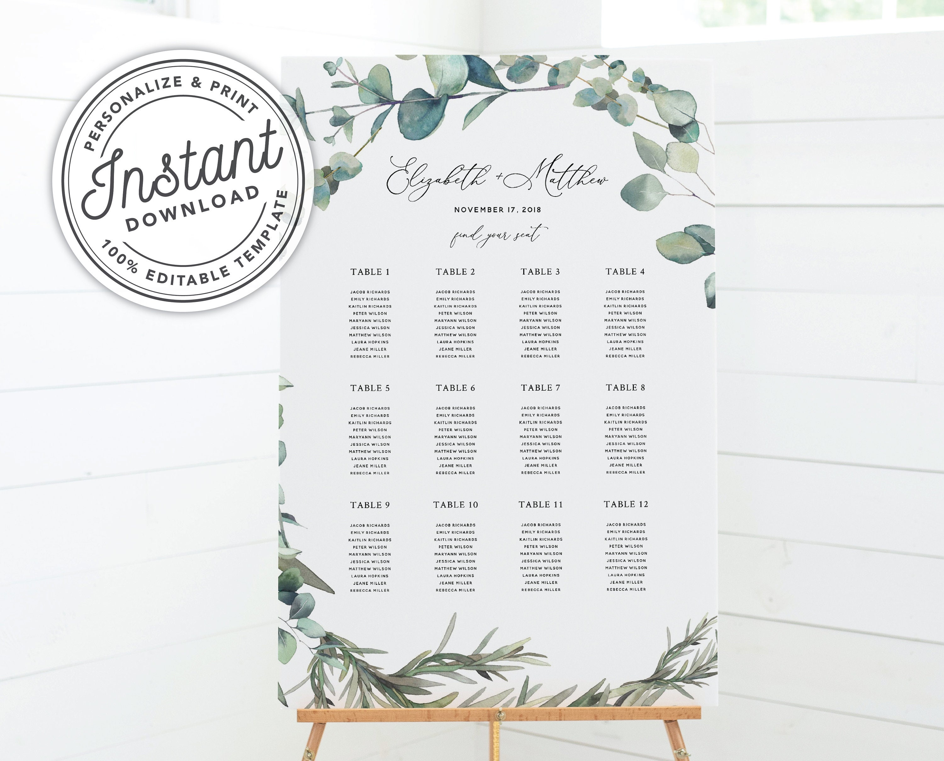 picture relating to Printable Wedding Seating Chart named Boho Wreath Printable Wedding ceremony Seating Chart with Eucalyptus Greenery (18x24, 24x36, A2, A1) Fast Obtain Editable Template #023