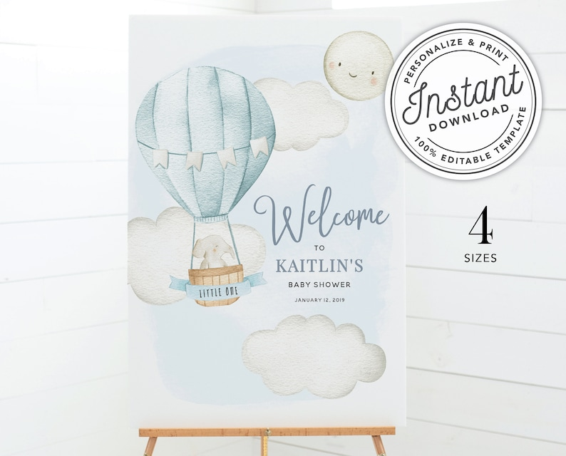 Up Up and Away Hot Air Balloon Boy Baby Shower Welcome Sign Printable \u2022 INSTANT DOWNLOAD \u2022 Editable Template 16x20, 18x24, 20x30 and 24x36