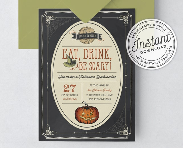 Eat Drink and Be Scary Vintage Halloween Spooktacular Invitation