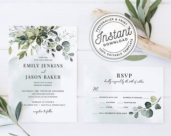Watercolor Boho Greenery Wedding Invitation Template Suite with Eucalyptus Leaves • INSTANT DOWNLOAD • Printable, Editable Template #027