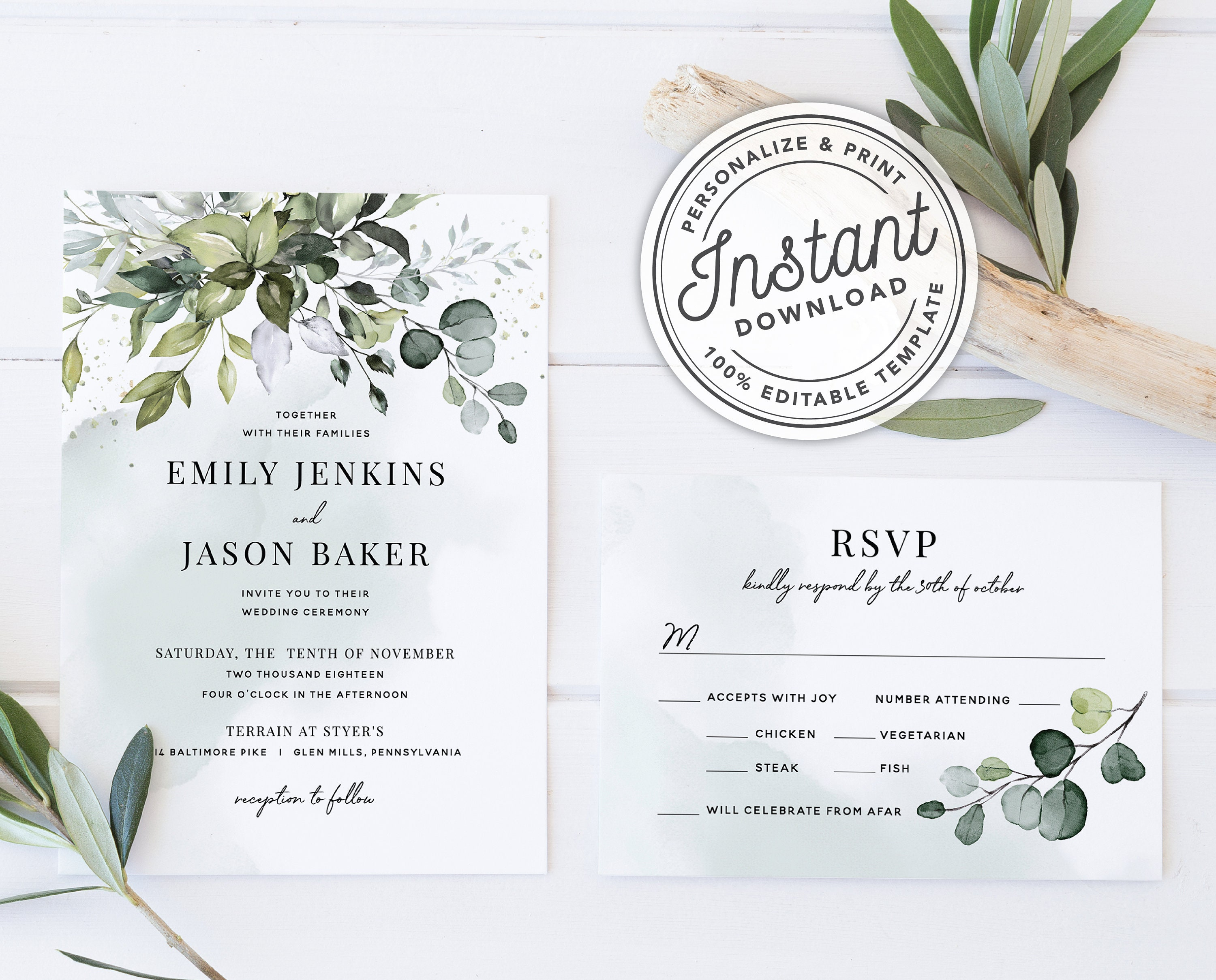 Watercolor Boho Greenery Wedding Invitation Template Suite With Eucalyptus Leaves O INSTANT DOWNLOAD Printable Editable 027
