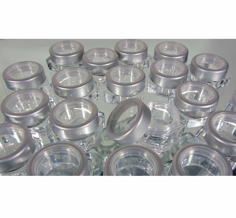 8257932fa636 200 Empty Cosmetic Jars Square Plastic Thick Wall Makeup Containers Pot - 5  Ml / 5 Gram (Silver Trim Window Cap) 3033-200 | FREE US Shipping