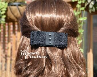 Black teens hair bow - women hair bow - hair accessory - girl hair bow - french barrette clip.