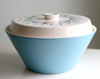 "Vintage Marcrest ""Swiss Chalet"" Round Covered Vegetable Bowl - 1960s"