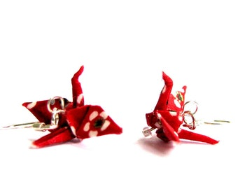 """Tiny Origami Crane Earrings Red with White Flowers 3/4"""""""