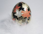 Washi Egg Japanese Paper Decoupage  - Autumn Leaves Golden Orange Black