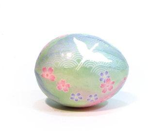 Decoupage Easter Egg Japanese Washi Egg - Pastel with Cranes