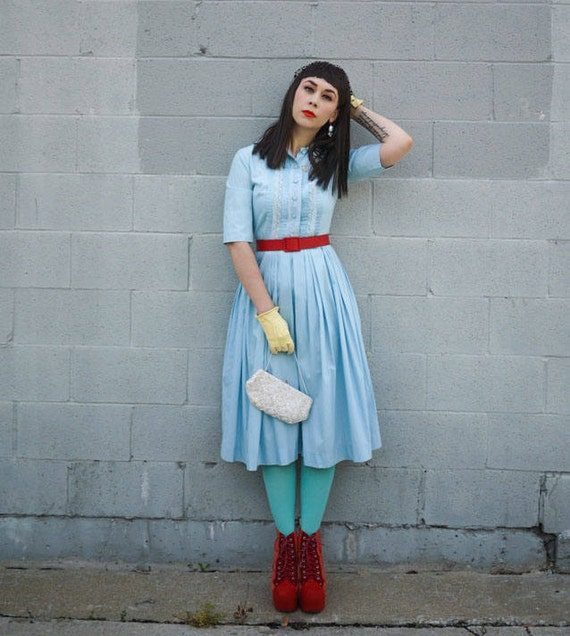 1960's Light Blue Pleated Shirt Dress
