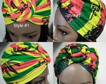 bf1f726aad2 Slip on stretchy Rasta print turbans