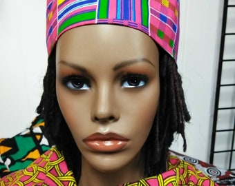 51339b2385b14 Pink Kente Unisex Kufi hat African hat  Kufi African Hat  African Hats and  accessories