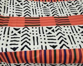b4f80d900d Per Yard Cotton print Kente Mix Tribal Print fabric cream color Mud Cloth  Inspired African Fabric Made in Mali  African Cotton Print