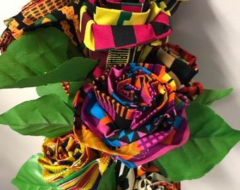 8 fabric kente roses, Decorate your home, African events, African Theme Weddings, Give as gift