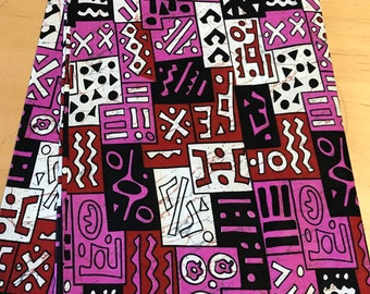 Pink Tribal African fabric per yard, mud cloth design cotton print fabric, Tribal Print / Made in Mali /Sewing Supplies
