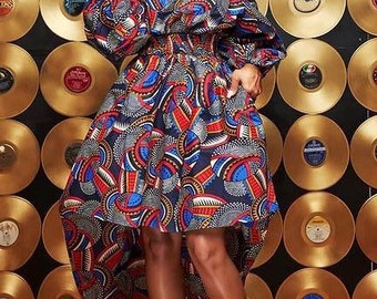 Andrea Hi low Ankara dress, Women's African dress
