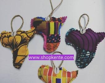 Map of Africa 4 piece African keepsakes ornaments, Holiday tree ornaments, African Kwanzaa / African decor / Craft Supplies/ Christmas Decor