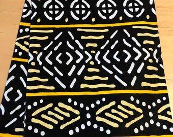 Black and yellow Tribal Mud Cloth Inspired Fabric By the Yard and wholesale/ Fabric from Mali Africa/ Earth tones African prints