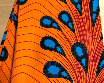 Orange and Blue Peacock African Fabric By the Yard and wholesale/ Fabric from Nigeria