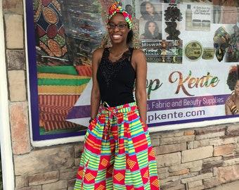 Kente Print Palazzo African pants  Women's African pants