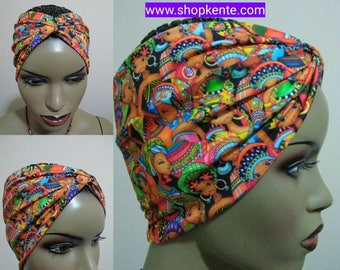 Afro Chic Ruched Yoga head band Turban, African print from stretchy spandex fabric/ hair accessories, Women's hair accessories