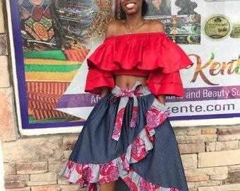 Hi Low Ankara skirt set, African denim skirt with Ankara / Women's flare Skirt / Midi Ankara skirt