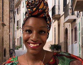 Ada Mudcloth Print African head wrap, Head Scarf Fabric, 70 inch by 22 inch/ DIY Head Wrap fabric/ African head wraps/ Rasta Head Wraps