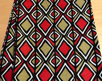 Olive Green and Red Tribal Kuba Inspired Fabric By the Yard and wholesale/ Fabric from Mali Africa/ Earth tones African prints