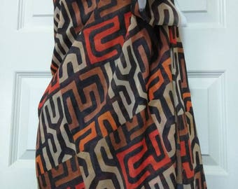 Kuba African print Chiffon fabric per yard / Orange and Black color/ / African scarf/ African wraps ethnic print fabric