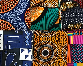 "African Print Fat Quarter Bundles 6 pcs, Craft Bundles, African fat quarters, 18""x22"""