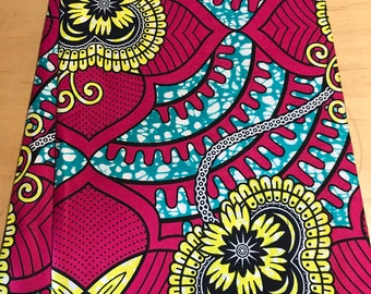 Yellow and Pink  African print fabric per yard, Supreme Wax fabric, African apparel fabric, African clothing, African quality Prints