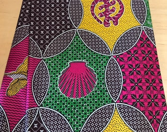 Green and Pink Gye Nyame African print fabric per yard, Supreme Wax fabric, African apparel fabric, African clothing, African quality Prints