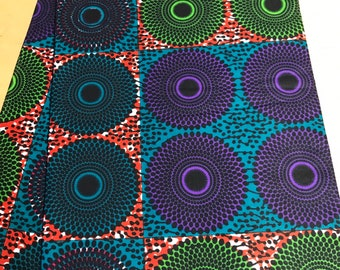 Purple and green Print African fabric per yard/ African Fabrics/ Trendy fashion fabrics/ African textiles/ African Prints